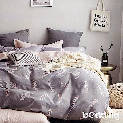 BEDDING-100%棉6尺加大雙人薄式床包三件組-幸運葉-灰
