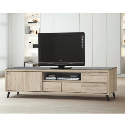MUNA 寶雅橡木7尺玻璃電視櫃/長櫃(187) 212X39X45cm