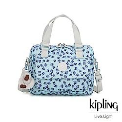 Kipling 典雅淡藍小花側翻蓋手提側背包-ZEVA