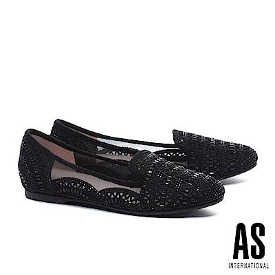 平底鞋 AS 精緻璀璨幾何晶鑽冲孔金屬布紋羊麂皮平底鞋-黑