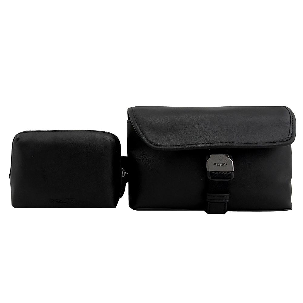 COACH 烙印LOGO造型騎士雙腰包/胸口包(黑)