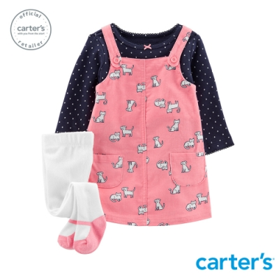 Carter's台灣總代理 動物印圖3件組吊帶裙套裝