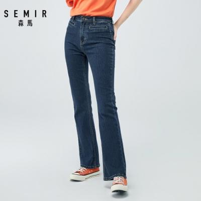SEMIR森馬-復古水洗顯瘦網紅喇叭褲-女