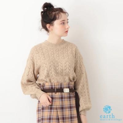earth music 鏤空針織花邊領蓬袖上衣