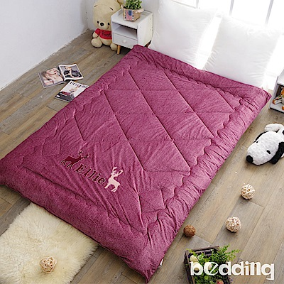 BEDDING-雙面同色水晶絨+毛巾繡花暖暖被-紫紅-麋鹿版