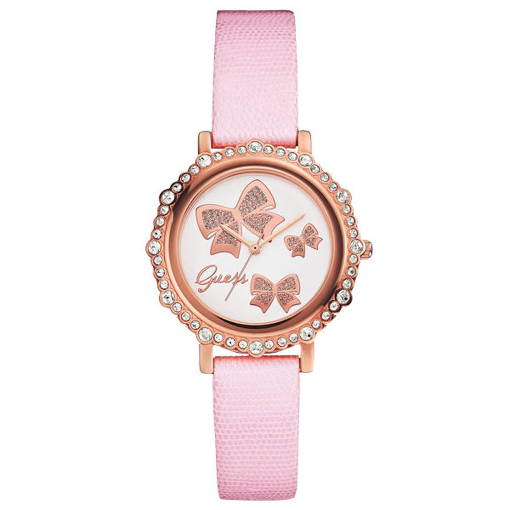 GUESS 甜美氣質晶鑽腕錶-白X粉-W0302L3-35mm