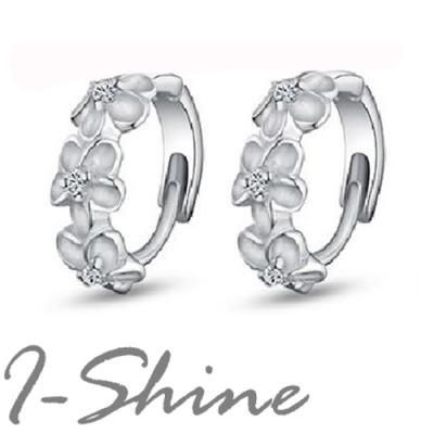 I-Shine-花戀-正白K-精緻山茶花圓形環式耳環DB14