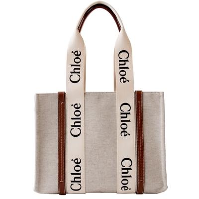 [領卷再折]Chloe 中款 帆布肩背包/托特包 (兩色任選) CABAS WOODY TOTE