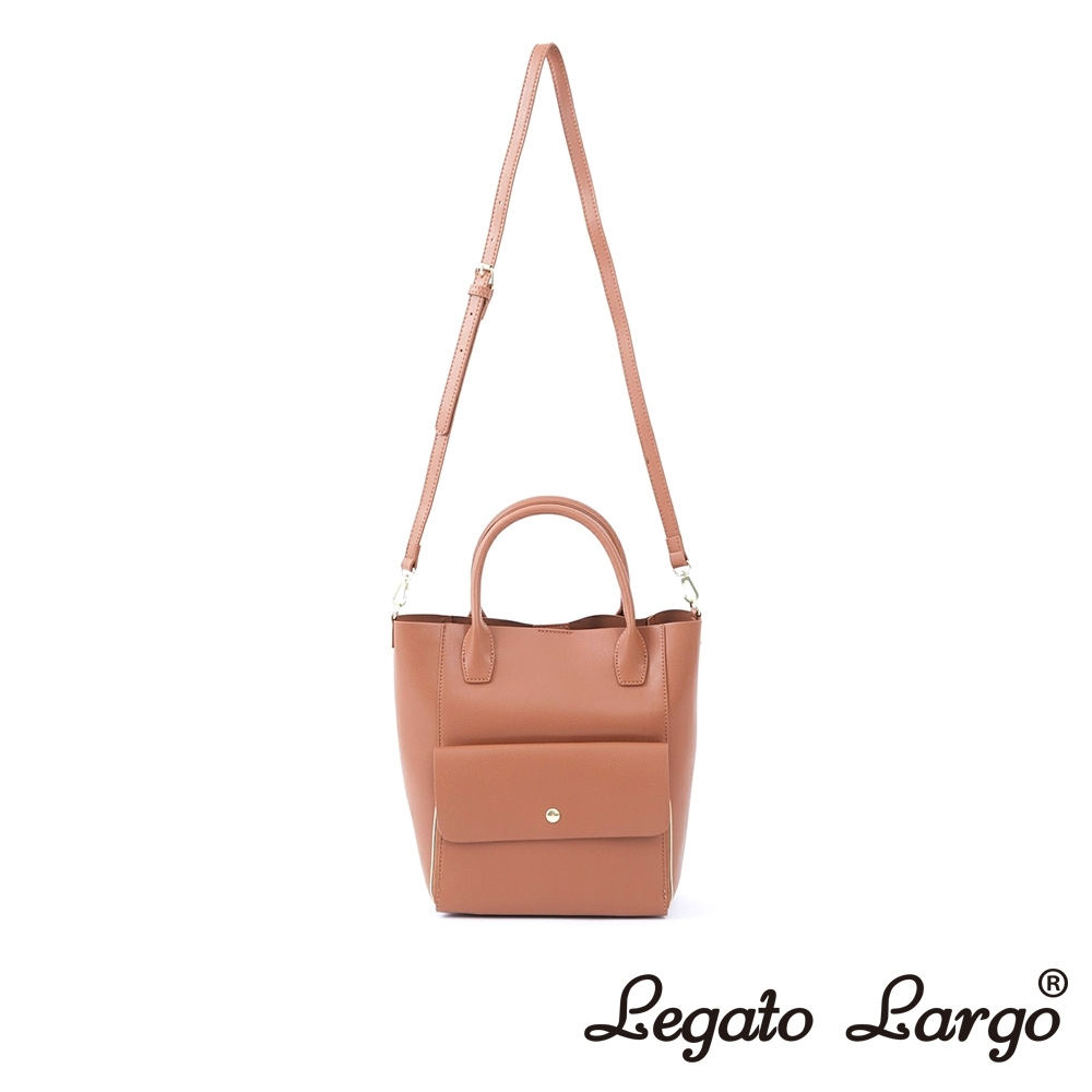 Legato Largo Lusso 氣質百搭款2WAY手提斜背兩用包 焦糖駝色