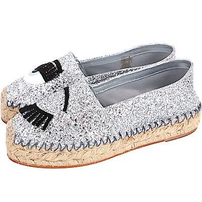 Chiara Ferragni Flirting 銀色眨眼圖案草編平底鞋(展示品)