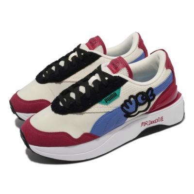 Puma 休閒鞋 Cruise Rider 塗鴉先生 女鞋 Mr Doodle 聯名 厚底 穿搭 米 藍 37579201