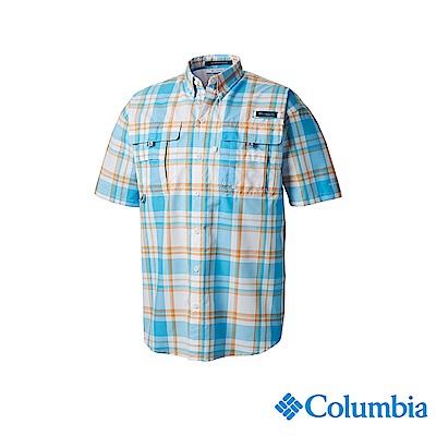 Columbia 哥倫比亞男款-UPF30短袖襯衫-藍色格紋 UFM71900BC