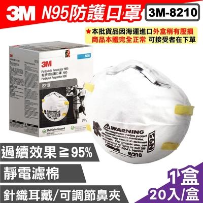 【外盒凹損】 (現貨) 3M Nexcare 8210 粒狀物防護口罩 N95 20入/盒