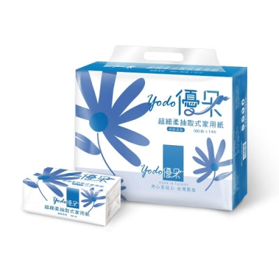 Yodo優朵超細柔抽取式花紋家用紙100抽X14包/串