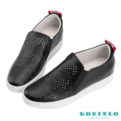 Robinlo 星星造型沖孔牛皮微增高休閒鞋 黑色