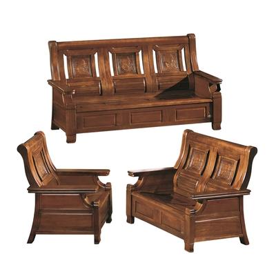 【文創集】曼島 樟木色實木沙發椅組合(1+2+3人座+可掀開置物功能)-192x72x102cm免組