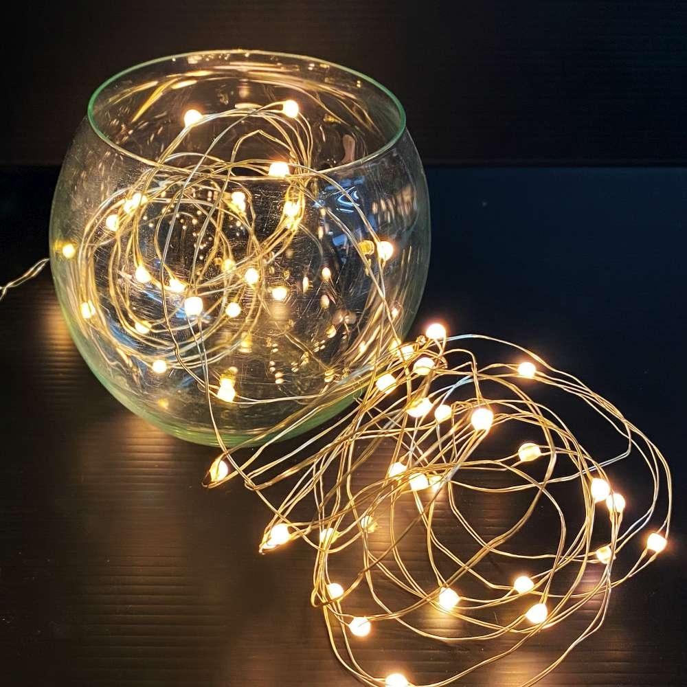 50燈LED大頭銅線燈串暖白光-USB電池盒兩用充電(贈遙控器)浪漫星星燈聖誕燈串