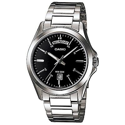 CASIO 經典復古設計指針不鏽鋼日曆腕錶 (MTP-1370D-1A1)/黑面40mm