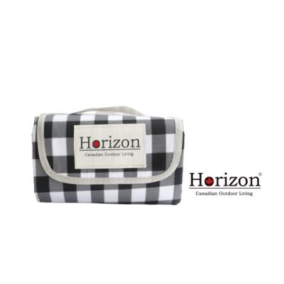 【Horizon 天際線】網美格紋款輕便防潮野餐墊-洛可可黑白格 (加大尺寸200x200cm)