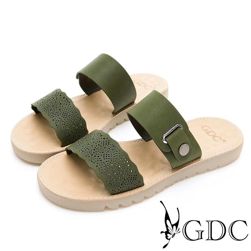 GDC-春夏簍空細緻波浪側扣飾一字拖鞋-綠色