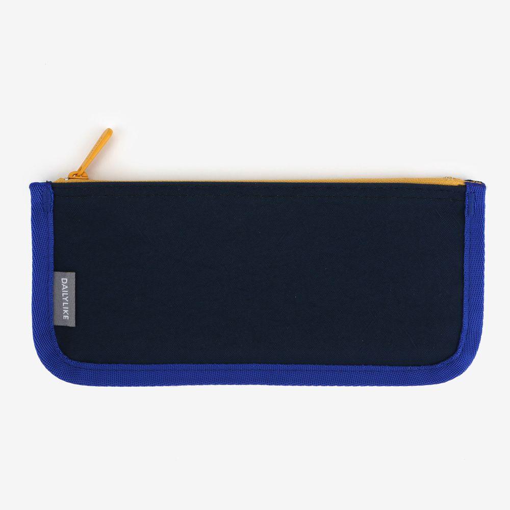 Dailylike 撞色拉鏈收納筆袋(平版)-04海軍藍