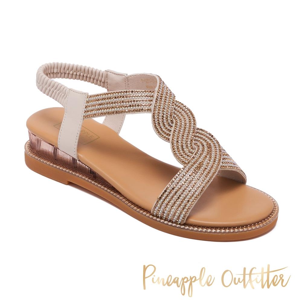 Pineapple Outfitter-IANNA 舒適牛皮亮鑽涼鞋-棕色