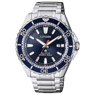 CITIZEN 星辰光動能專業潛水運動手錶(BN0191-80L)-藍/44mm