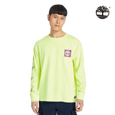 Timberland 男款螢光黃色雙面印花寬鬆長袖T恤|A2DUR