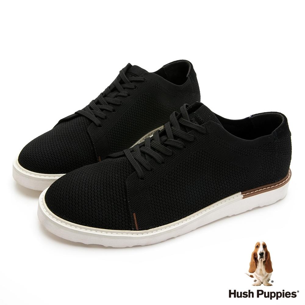 Hush Puppies 防潑水針織休閒男鞋-黑色
