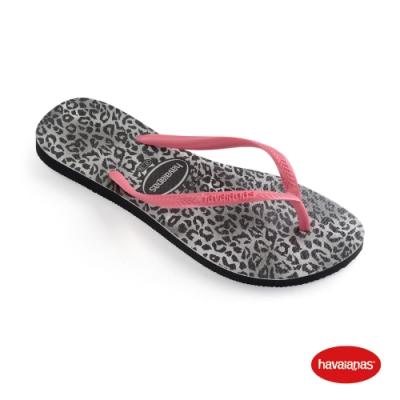 Havaianas 哈瓦仕 拖鞋 夾腳拖 人字拖 豹紋 巴西 女鞋 黑 4145480-0090W Slim Leopard