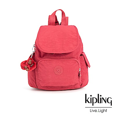 Kipling 燦爛緋紅拉鍊掀蓋後背包-CITY PACK MINI