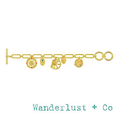 Wanderlust+Co 澳洲品牌 玫瑰花X蜜蜂X太陽X月亮 浪漫垂墜式金色手鍊