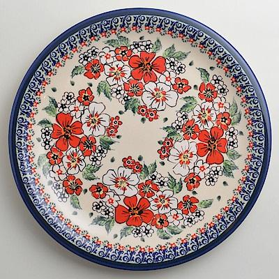 【波蘭陶 Zaklady】 紅白彩卉系列 圓形餐盤 27cm 波蘭手工製