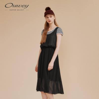 OUWEY歐薇 假兩件式條紋拼接洋裝(黑)