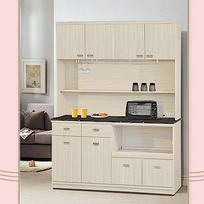 凱曼 萊莉 5 尺黑白根石面餐櫃收納櫃(上+下座)