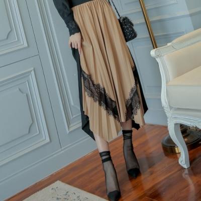 La Belleza鬆緊腰百摺拼接撞色黑色蕾絲不規則百摺長裙