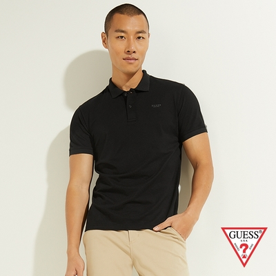 GUESS-男裝-LOGO字母POLO衫短袖T恤-黑 原價1690