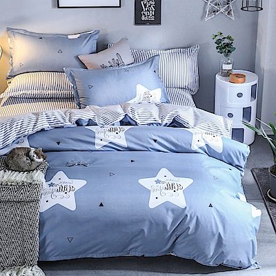 La Lune 台灣製經典超細雲絲絨雙人兩用被單人床包枕套3件組 浮雲之星