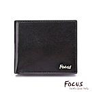 FOCUS原皮時尚黑雙透明窗加大附零錢袋男短夾(FGB2827)