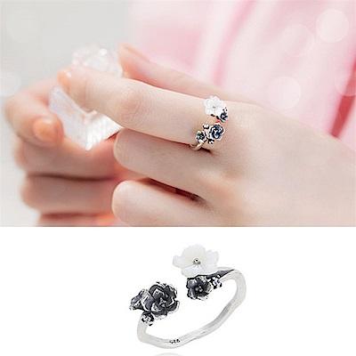 梨花HaNA 韓國925銀復古玫瑰古典開口戒指