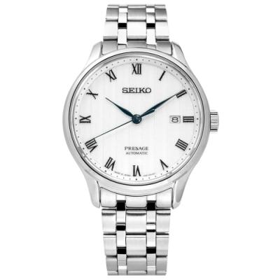 SEIKO 精工 PRESAGE 自動上鍊 藍寶石水晶玻璃 不鏽鋼機械錶-白色/42mm