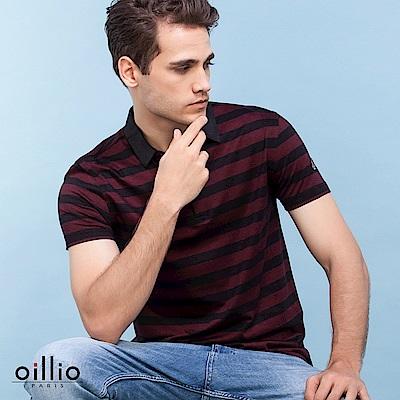 歐洲貴族oillio 短袖POLO 簡約條紋 超柔質感布料 紅色