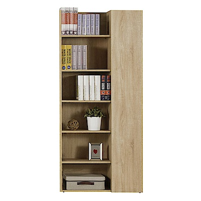文創集 波切特時尚2.7尺木紋單門書櫃/收納櫃-80x30x182cm免組
