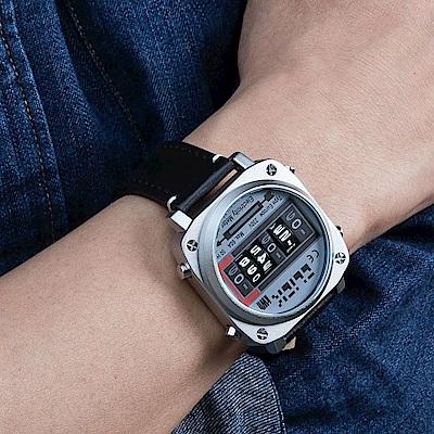 CLICK 復古電度錶-銀面黑皮帶/44mm