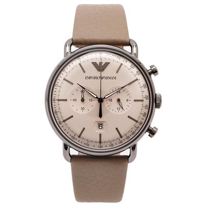 ARMANI 圓弧面加厚鏡面款手錶(AR 11107 )-淡銅色面X灰色/ 43 mm