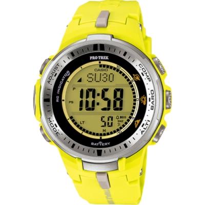 CASIO PRO TREK 太陽能世界6局電波登山錶-黃(PRW-3000-9B)/ 32mm