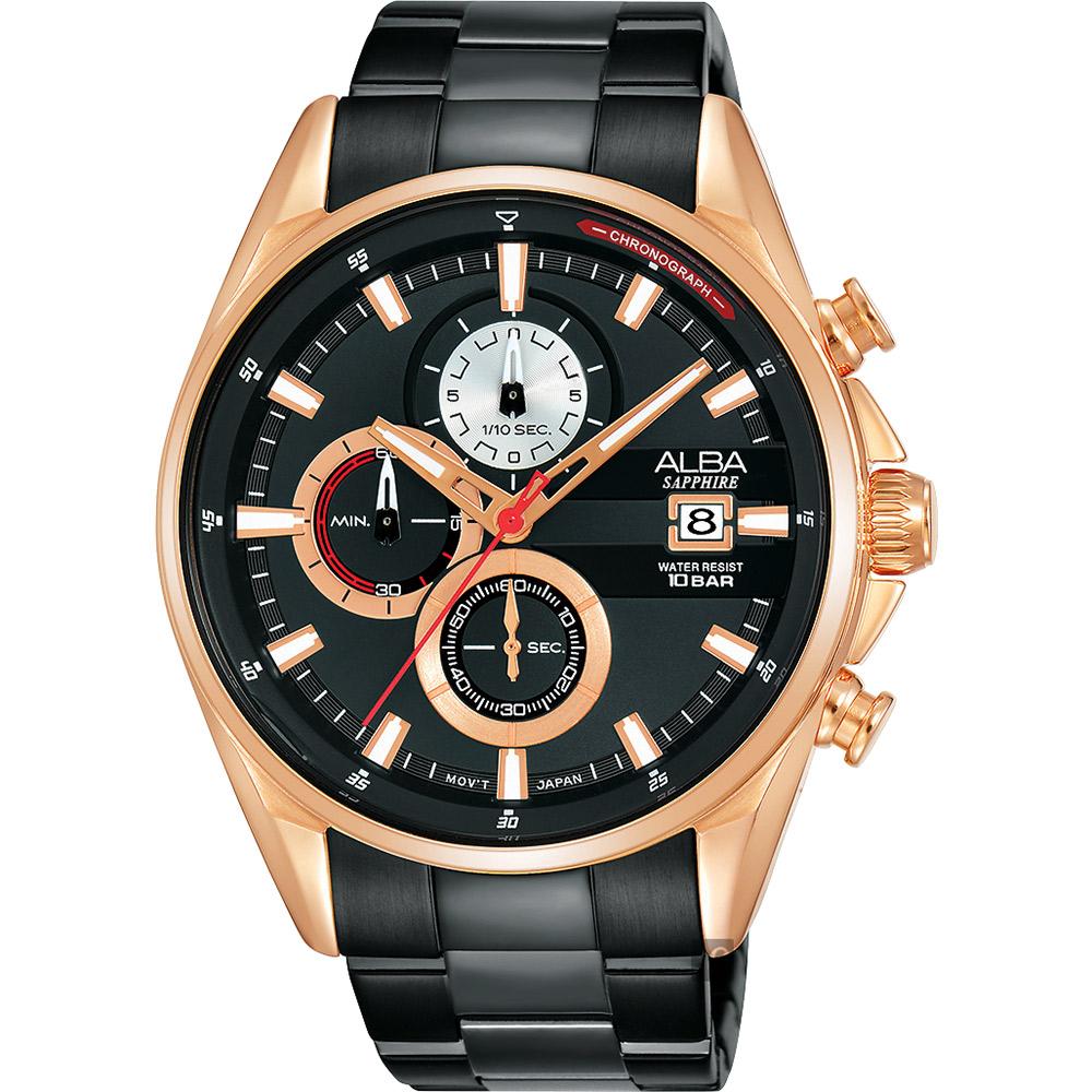 ALBA雅柏 年輕世代計時手錶(AM3598X1)-黑x玫塊金/43mm