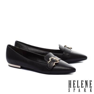 平底鞋 HELENE SPARK 時尚質感造型飾釦全真皮尖頭平底鞋-黑