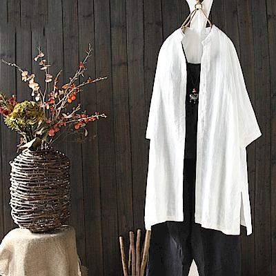百搭九分袖寬鬆棉麻襯衫開衫上衣/設計所在Y1908