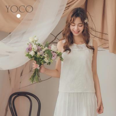 東京著衣-YOCO 甜美可人鏤空雕花無袖素色上衣-S.M.L